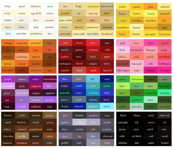 Color names mapping